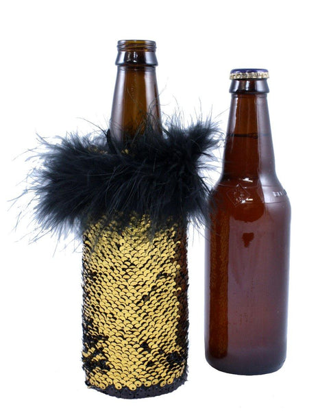 Gold to Black Reversible Sequin Coosie. Sequin Koozie by Tipsy Totes