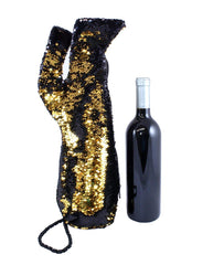 Stiletto Wine Bag in Black and Gold Reversible Mermaid Sequin Fabric