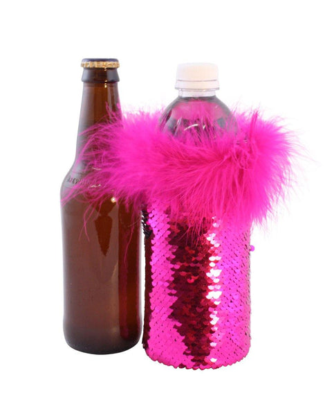Reversible Sequin Beer Koozies for Water or Beer Bottles in Hot Pink and Silver