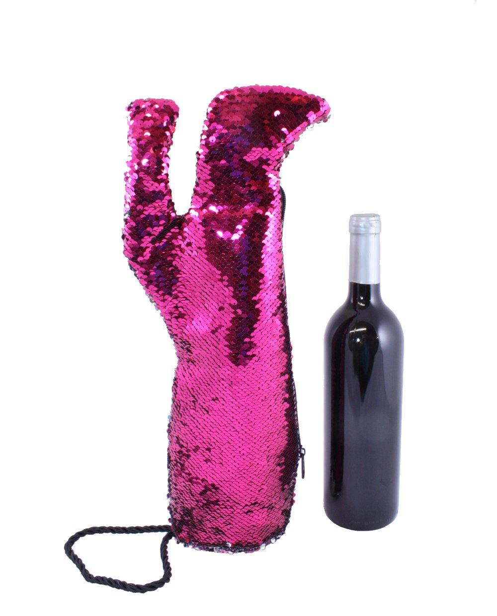 Hot Pink Sequin Stiletto Wine Bag by Tipsy Totes