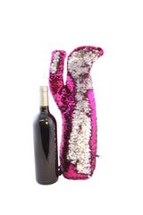 Sexy Stiletto Fashion Wine Bag in Hot Pink and Silver Sequins by Tipsy Totes