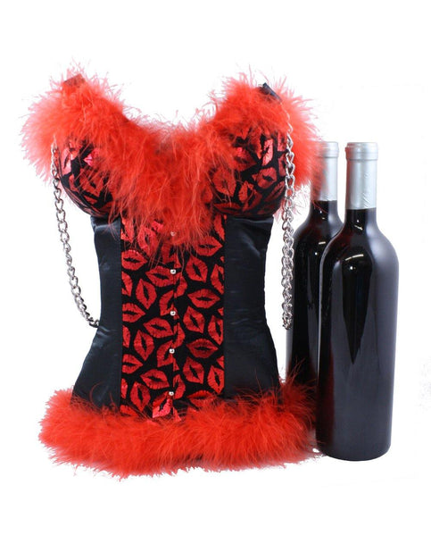Red Metallic Lips Corset Wine Bag Tote by Tipsy Totes