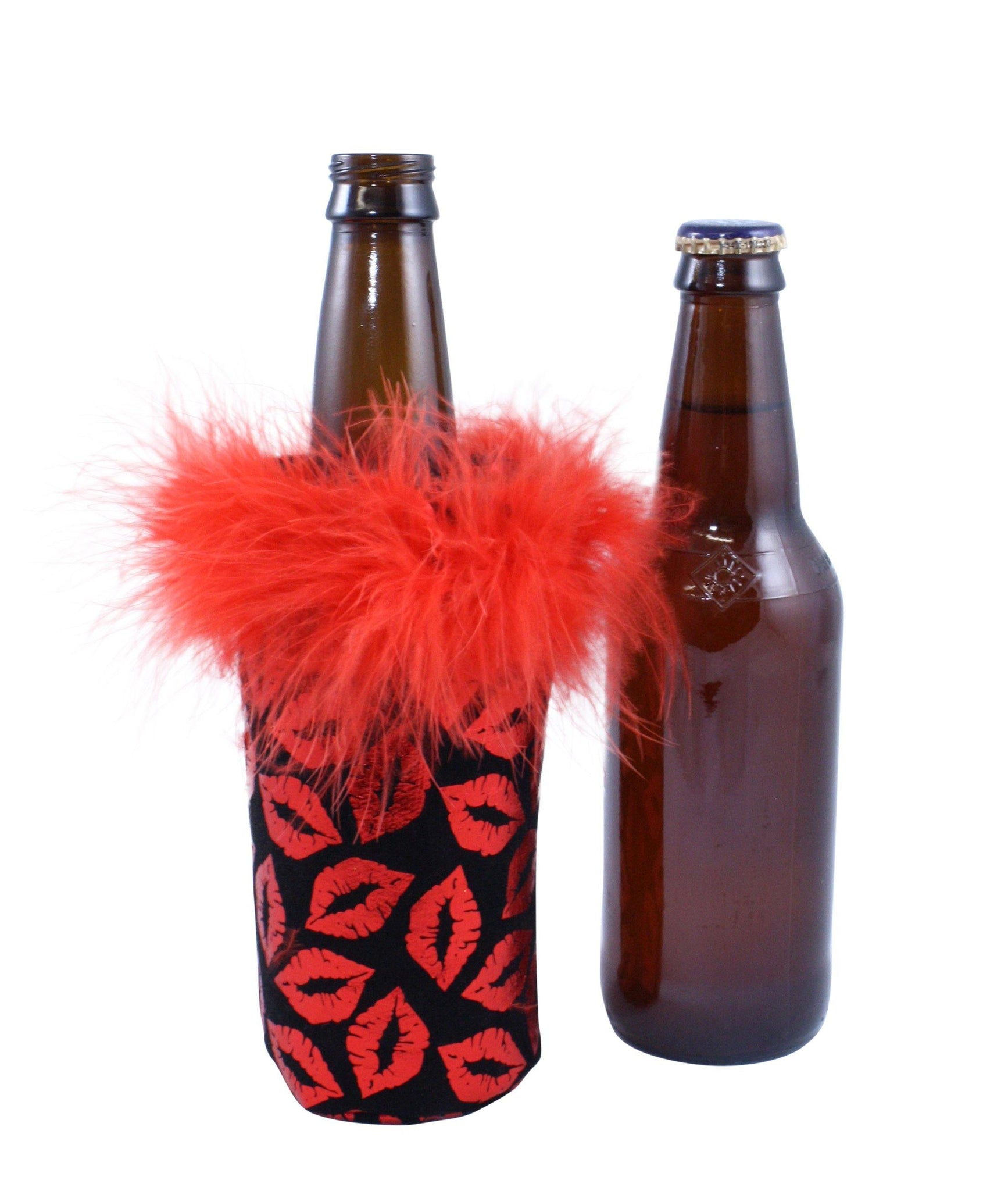 Red Metallic Lips Koozie by Tipsy Totes