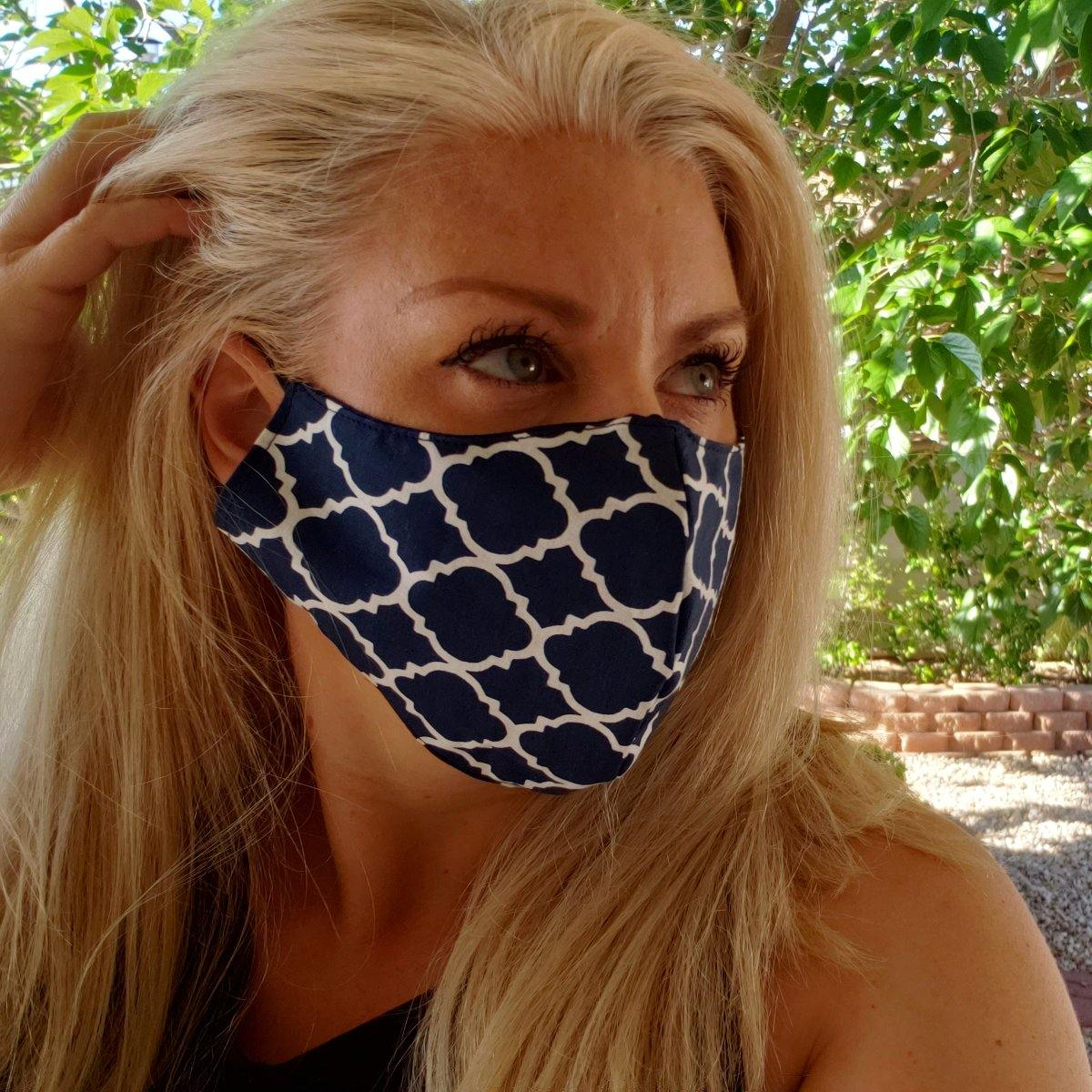 Navy and White Design Face Mask - Tipsy Totes | Wine Gifts | Beer Koozies | Wine Totes | Simply Fabulous