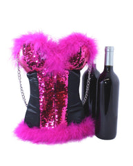 Corset Wine Bag in Hot Pink to Silver Reversible Sequins by Tipsy Totes