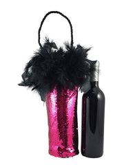 Diva Wine Bag with Hot Pink and Silver Reversible Mermaid Sequin Fabric and Feather Trim - Tipsy Totes | Wine Gifts | Beer Koozies | Wine Totes | Simply Fabulous