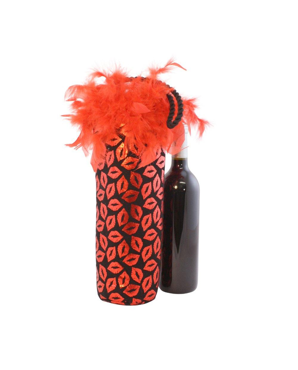 Red Metallic Lips with Feathers Single Bottle Tote by Tipsy Totes