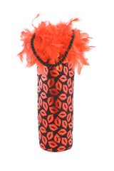 Diva Wine Bag with Red Metallic Lips and Feather Trim