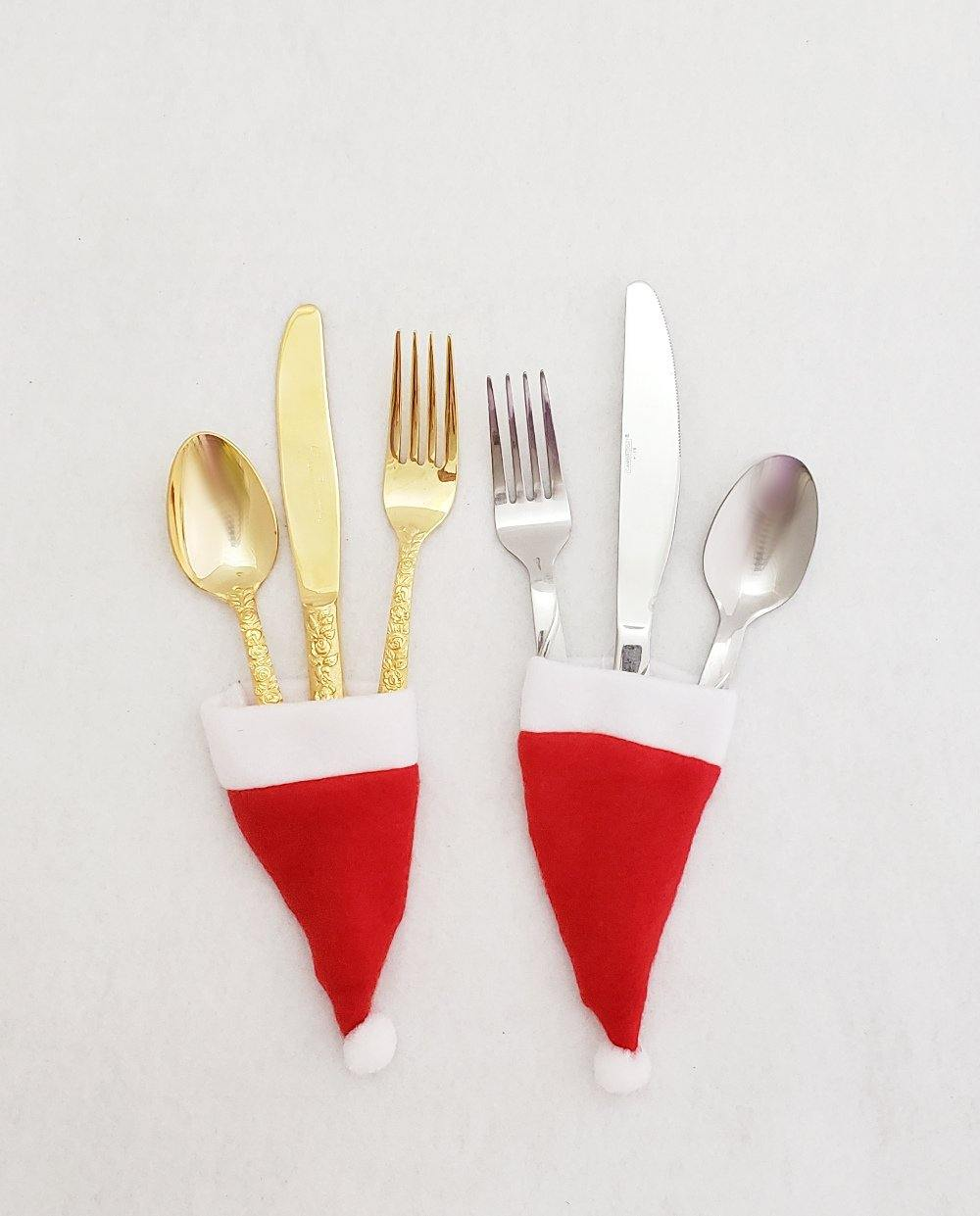 Santa Hat Flatware Holder - set of 2 or 4