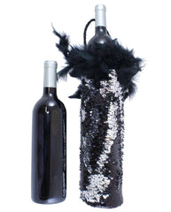 Silver and Black Sequin Fashion Wine Tote by Tipsy Totes