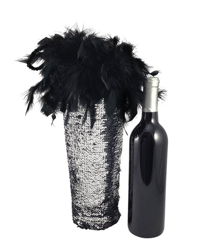 Diva Wine Bag with Black and Silver Reversible Mermaid Sequin Fabric and Feather Trim