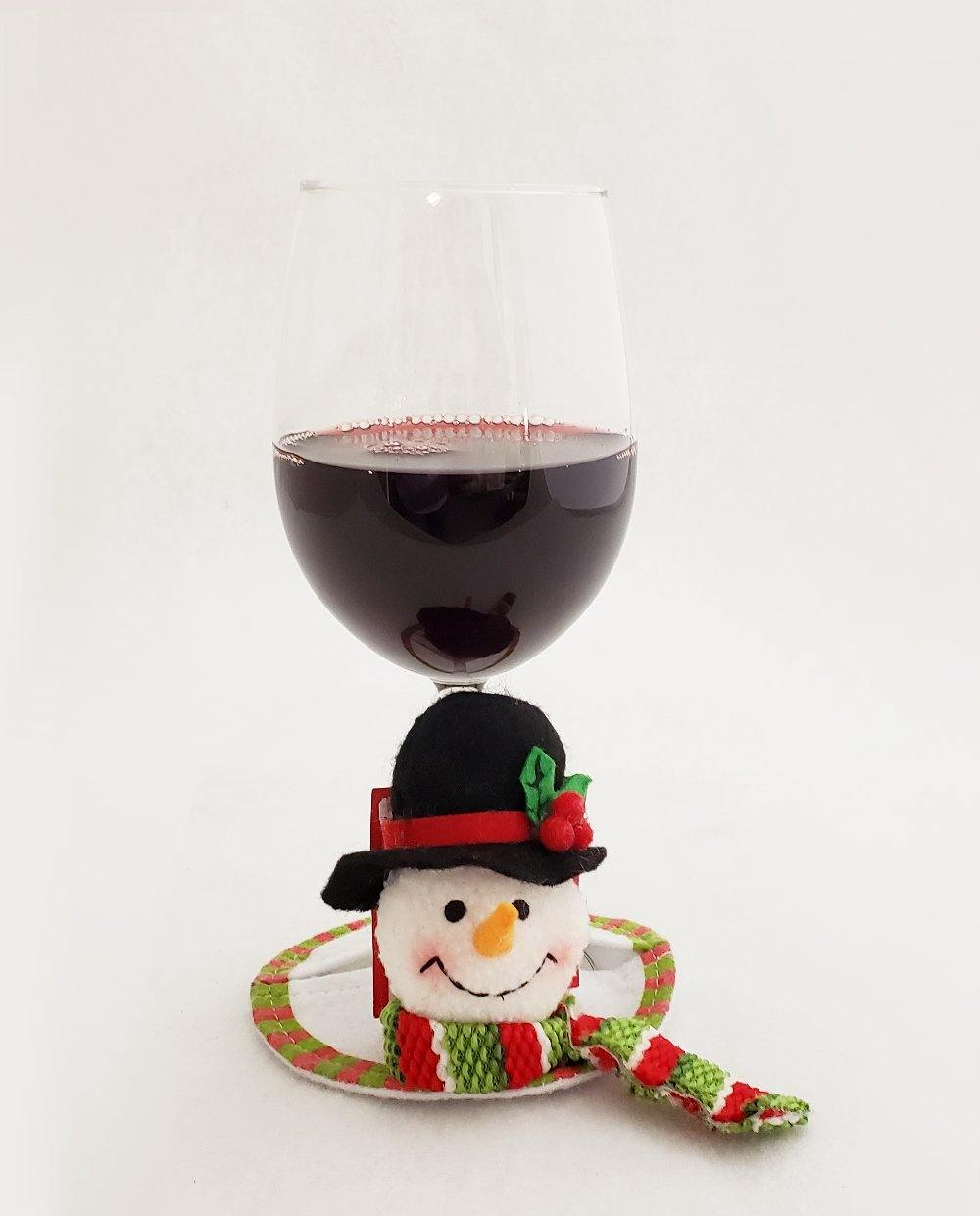 Snowman Coasters for Wine Glasses - SET of 2