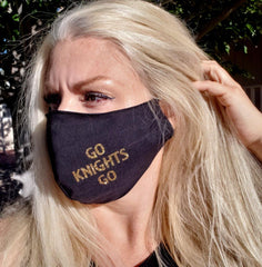 Las Vegas Golden Knights Fitted Glitter Face Mask