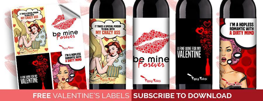 FREE PRINTABLE VALENTINE'S DAY WINE LABELS - Tipsy Totes | Wine Gifts | Beer Koozies | Wine Totes | Simply Fabulous