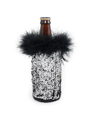 Black and Silver Reversible Mermaid Sequin Fabric Beer Coolies for Water or Beer Bottles