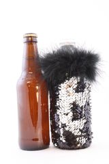 Black and Silver Reversible Mermaid Sequin Fabric Beer Toteez for Water or Beer Bottles