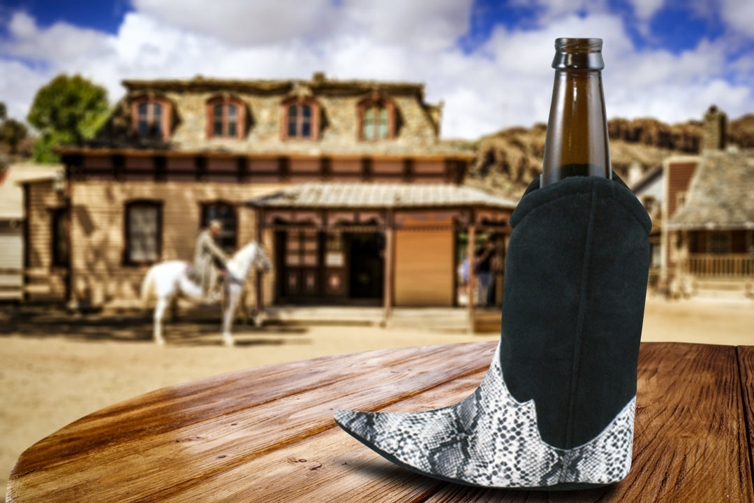 Old West style beer koozie