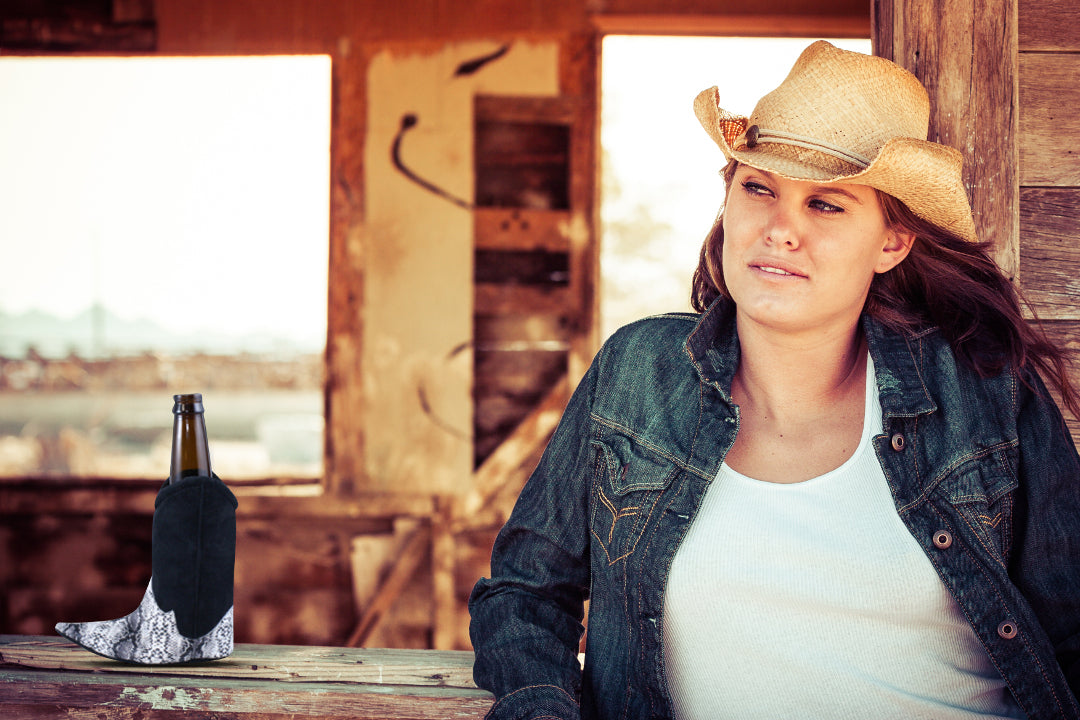 Cowgirl with Boot Beer Koozie