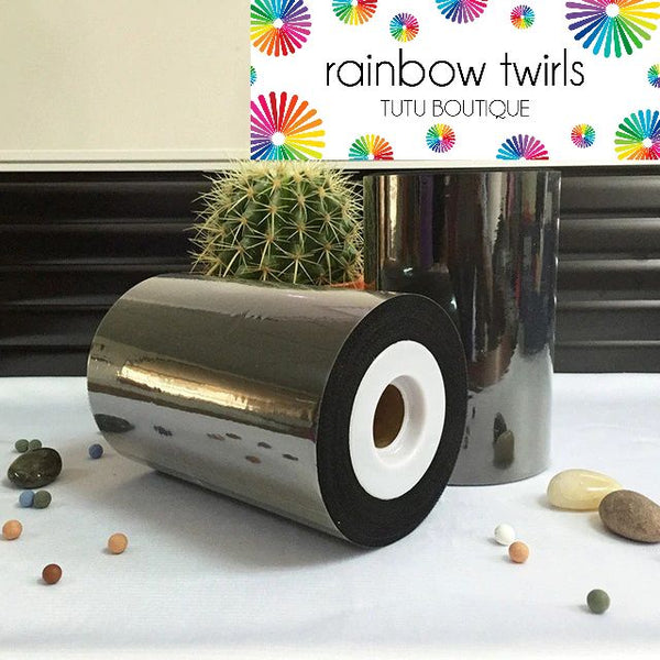 Black premium soft nylon tulle 6 inch x 100 yard roll