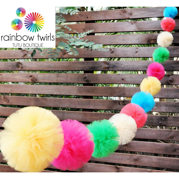 Bright Lights Tulle Pom Pom Garland