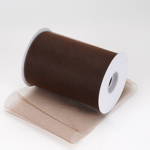 Brown premium soft nylon tulle 6 inch x 100 yard roll