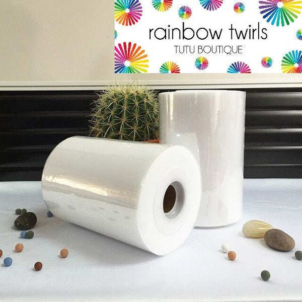 White premium soft nylon tulle 6 inch x 100 yard roll