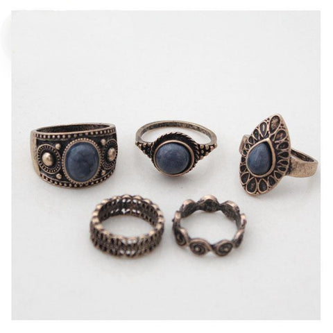 Vintage 5 Rings Sets Fashion Antique Alloy Nature Blue Stone Midi finger Rings for Women