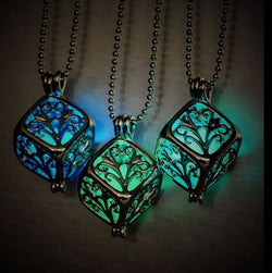 Tree Of Life Dark Luminous Necklaces Silver Color Chain Necklace Glowing in Dark Pendant Necklaces Collares Best Friend Jewelry