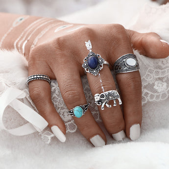 5Rings\Set Bohemian Style Vintage Set Turquoise Stone Elephant Rings for Women