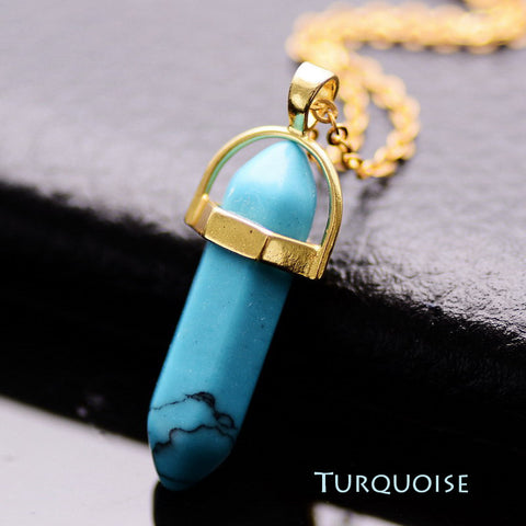Natural Stone Bullet Shape Healing Point Pendant Necklaces Turquoise Crystal Stone Quartz Pendant Necklace Women Jewelry