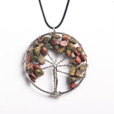 Multistone wisdom chakra tree of life necklace