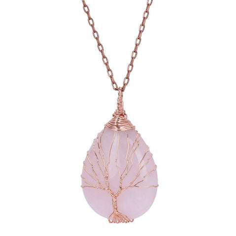 Tree Of Life Handmade Copper Wire Wrapped Amethyst Rose Quartz Aventurine Teardrop Bead Pendant Necklace For Women