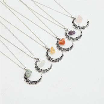 Antique Moon Healing Semi-Precious Stone Necklace - Gold or Silver - 7 colours