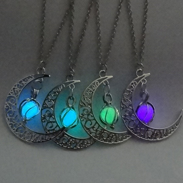 Glowing In the Dark Pendant Necklace For Women Silver Plated Chain Moon Necklaces Night Glow Luminous Fashion Necklaces Jewelry