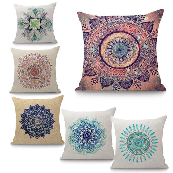 Decorative multiple mandalas versions pillow cover ideal for chakra healing and meditation