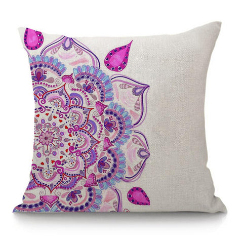 Decorative purple mandala pillow cover ideal for chakra healing and meditation