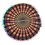 Indian Mandala Floor Pillows Cover Round Bohemian Pillow cases Gold/Purple Home Living Room Bed Decorative Pillocases &EY11