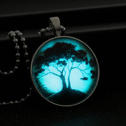 Tree Of life Glass Glowing Pendant Necklace Glow In The Dark Necklace Stainless Steel Long Chain Luminous Glass Cabochon  N2363