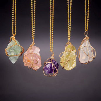 Handmade Irregular Natural Stone Amethyst Pendant Necklaces Gold Plated Rose Quartz Crystal Wire Wrapped Necklace For Women