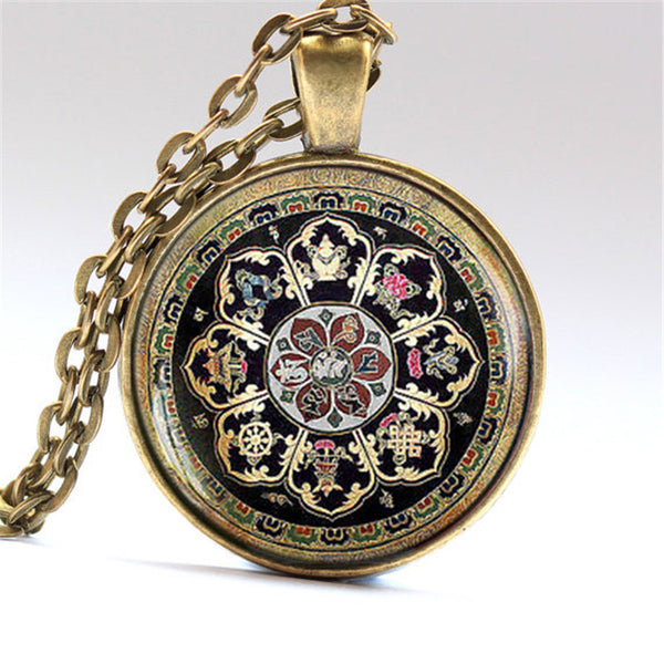 Tibetan Buddhist mandala necklace Sacred geometry Jewelry Spiritual accessory