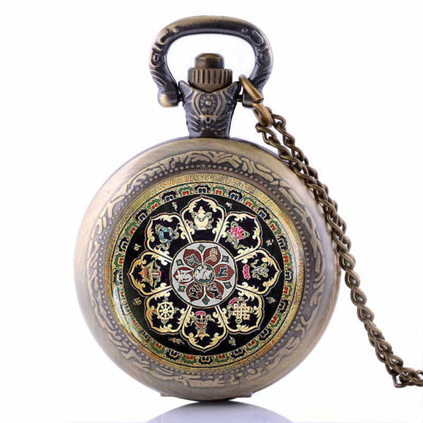 Tibetan Buddhist mandala Pocket Watch Necklace Sacred geometry Jewelry Fashion Men Mandala Pendant Gift