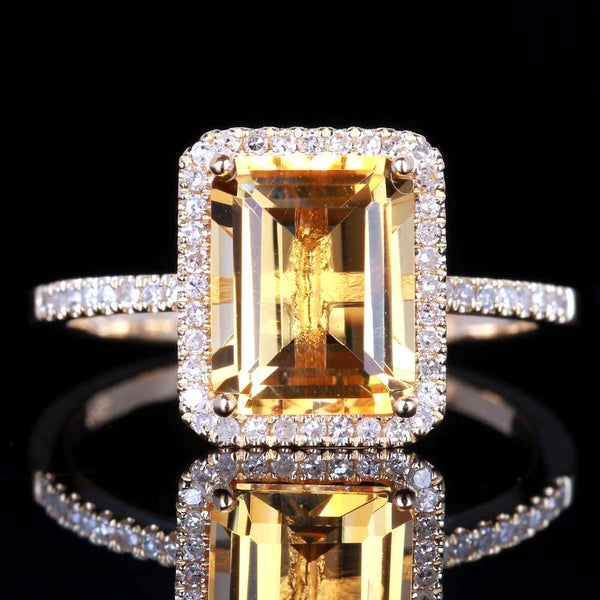 14K Gold Citrine & Diamond Ring