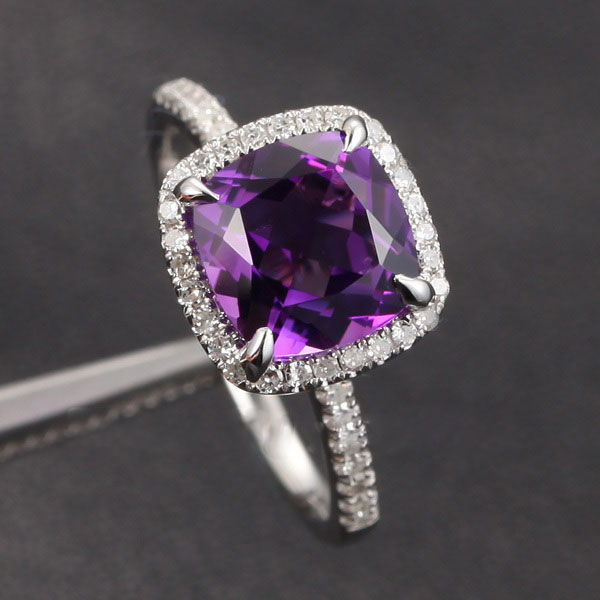 14K Gold Amethyst & Diamond Ring