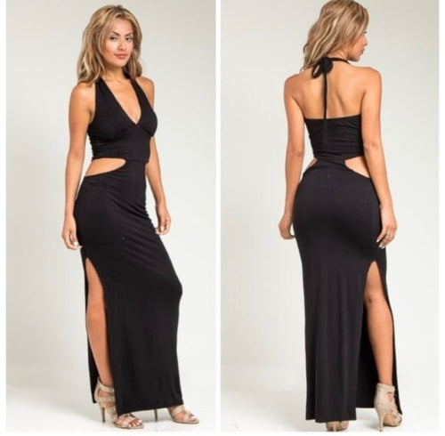Black Side Slit Cutout Halter Dress