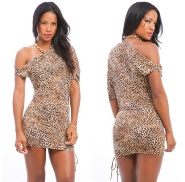 Cheetah Side Cinched Dress