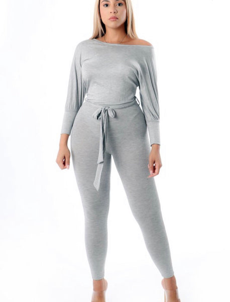 Heather gray long sleeve belted jumpsuit