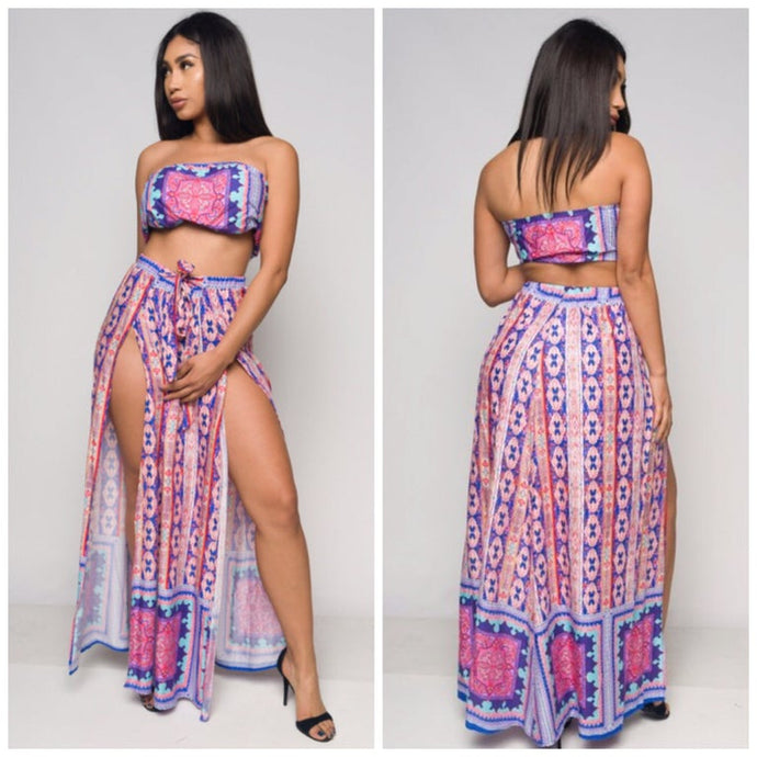 Love me cropped top & side split maxi skirt
