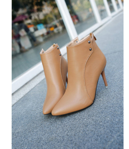 Solid Zip High Heels Boots - DendiShop