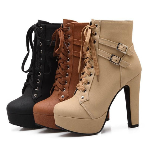 Double Buckle Ankle Boots - DendiShop