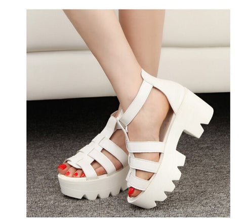 Lady Strappy Block Heel Sandals - DendiShop
